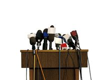 Press Conference Microphones. Over White Stock Photos