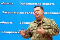 Press conference of the Minister of Defense of Ukraine Stepan Po. Uzhgorod, Ukraine - June 29, 2015: The Minister of Defense of Ukraine Stepan Poltorak answers royalty free stock photos