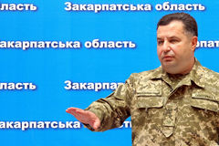 Press conference of the Minister of Defense of Ukraine Stepan Po. Uzhgorod, Ukraine - June 29, 2015: The Minister of Defense of Ukraine Stepan Poltorak answers royalty free stock photo