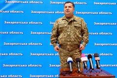 Press conference of the Minister of Defense of Ukraine Stepan Po. Uzhgorod, Ukraine - June 29, 2015: The Minister of Defense of Ukraine Stepan Poltorak answers royalty free stock image
