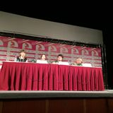 Press-conference of the movie The Avian Kind. (South Korea) at 36th Moscow International Film Festival. The movie is represented within the main competition of Stock Photo