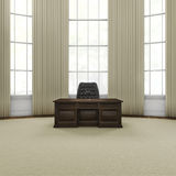 Press conference office. 3D render of grand wooden desk with microphones in stately office Stock Image