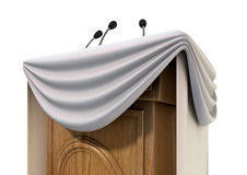 Press Conference Podium With Draping Royalty Free Stock Image