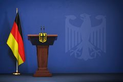 Press conference of premier minister of Germany concept, Politi stock image