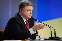 Press conference of the President of Ukraine Poroshenko Stock Photos