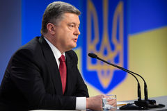 Press conference of the President of Ukraine Poroshenko Stock Images