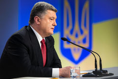Press conference of the President of Ukraine Poroshenko Royalty Free Stock Photos