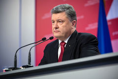 Press conference of the President of Ukraine Poroshenko Royalty Free Stock Photography