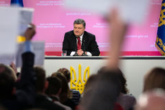 Press conference of the President of Ukraine Poroshenko Stock Image
