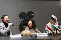 Press conference of Russian figure skating stars Royalty Free Stock Image