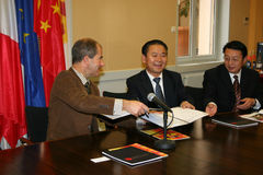 Press conference for the signature of a twinning p Royalty Free Stock Image