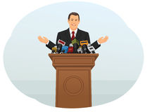 Press conference. Spokesperson speaking into microphones to reporters. Press and media conference Royalty Free Stock Images