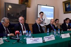 Press-conference during St. Petersburg scientific forum Stock Photography