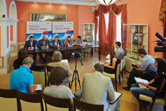 Press conference before start of national competition Beauty of Russian Railways 2012 Royalty Free Stock Images