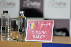 Press conference with tennis player Simona Halep Stock Images