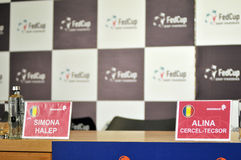Press conference with tennis player Simona Halep Royalty Free Stock Photography