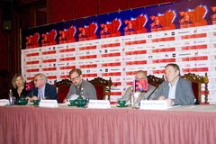 Press-conference of 37th Moscow International Film Festival Stock Photography