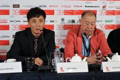 Gao Zifing and Duan Peng. Press-conference of 39th Moscow International Film Festival on the movie Crested Ibis, China. Date: June 27, 2017. Place: October Stock Photo