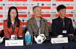 Press-conference of 39th Moscow International Film Festival stock photo