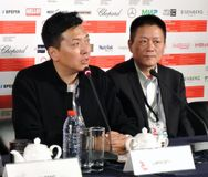 Press-conference of 39th Moscow International Film Festival royalty free stock photo