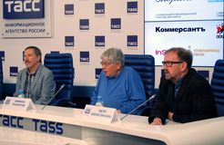 Press-conference of 38th Moscow International Film Festival Stock Images
