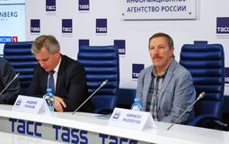 Press-conference of 38th Moscow International Film Festival Stock Photography