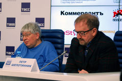 Press-conference of 38th Moscow International Film Festival. Right to left: Pyotr Shepotinnik, cinema expert, Kirill Razlogov, cimena expert and programm Royalty Free Stock Image