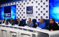 Press-conference of 38th Moscow International Film Festival Royalty Free Stock Photos