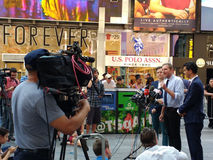Press Conference in Times Square, Talking to the News Media, NYC, USA. Manhattan Councilman Ydanis Rodríguez, Senator for the New York State Senate Brad Hoylman Royalty Free Stock Image