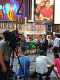 Press Conference in Times Square, Talking to the News Media, NYC, USA. Manhattan Councilman Ydanis Rodríguez, Senator for the New York State Senate Brad Hoylman Stock Photo