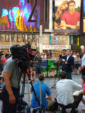 Press Conference in Times Square, Talking to the News Media, NYC, USA. Manhattan Councilman Ydanis Rodríguez, Senator for the New York State Senate Brad Hoylman Royalty Free Stock Images
