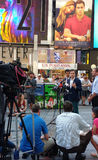 Press Conference in Times Square, Talking to the News Media, NYC, USA. Manhattan Councilman Ydanis Rodríguez, Senator for the New York State Senate Brad Hoylman Royalty Free Stock Photo