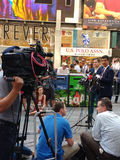 Press Conference in Times Square, Talking to the News Media, NYC, USA. Manhattan Councilman Ydanis Rodríguez speaks as Senator for the New York State Senate Royalty Free Stock Images