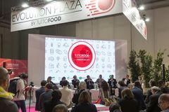 Press conference at Tuttofood 2019 in Milan, Italy royalty free stock photos