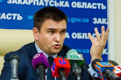 Press conference by Ukrainian Foreign Minister Pavel Klimkin in royalty free stock photos