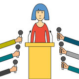 Press Conference Woman Cartoon Vector Illustration. Politician or business woman giving press conference. Hands of journalists with microphones. Cartoon thin Stock Photo