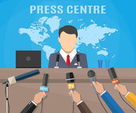 Press conference, world live tv news Stock Photo