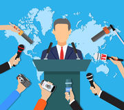 Press conference, world live tv news, interview Stock Images