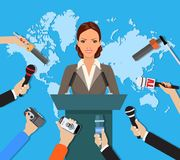 Press conference, world live tv news, interview Stock Photography