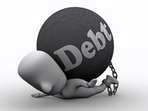 Press by Debt. A 3D illustration of a person in debt royalty free illustration