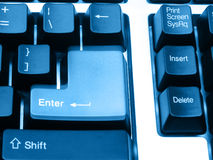 Press and Depress. Stages of an ENTER key on keyboard, blur movement royalty free stock photography