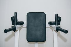 Press desk in the training center. training tools in the gym close-up royalty free stock photo