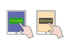 Press the Download Button Stock Photos