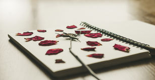 Press dried rose flower in note book page, on wood texture, vintage tone Stock Photo