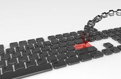Press Enter. Thin 3d robotic tentacle arm pressing enter button on the keyboard, isolated Royalty Free Stock Photography