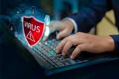 Press enter button on the keyboard computer Protective shield virus red Exclamation Warning Caution Computer in dark with word vir stock photos