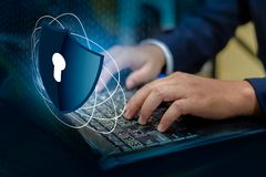 Press enter button on the keyboard computer Shield cyber Key lock security system abstract technology world digital link cyber sec. Urity on hi tech Dark blue stock image