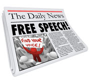 Press för journalistik för nyhetsmedia för åsiktsfrihettidningsrubrik Arkivbilder