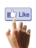 Press Facebook Like Button. Hand pressing Facebook Like Button isolated on white background stock photos