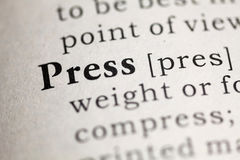 Press. Fake Dictionary, Dictionary definition of the word Press. including key descriptive words Stock Image